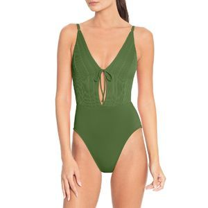 NWT Robin Piccone Lily Keyhole Plunge Swimsuit